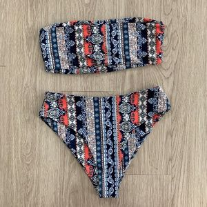 Zaful Bikini Set Sz Large Bandeau Top High Cut